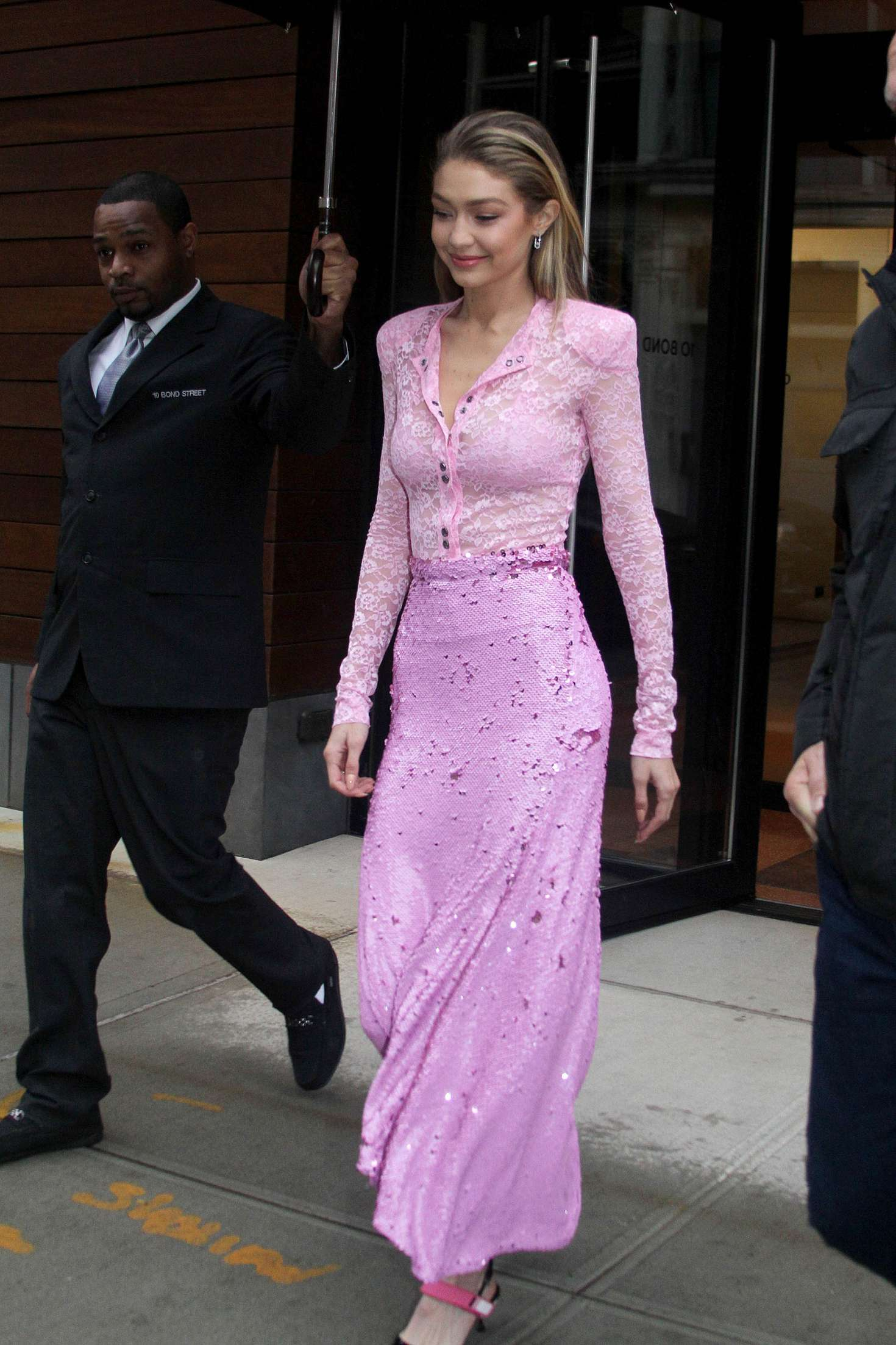 Gigi Hadid 2017 : Gigi Hadid in Pink Long Dress -02